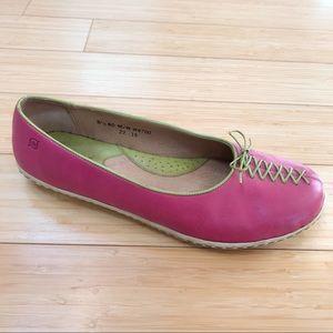 BORN pink green stitched flats, 8.